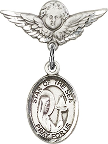 - Sterling Silver Baby Badge Cherub Angel Pin with Our Lady Star of the Sea Charm, 3/4 Inch