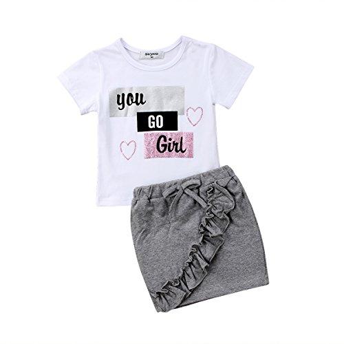 2pcs Toddlers Baby Kids Girls Cute Words You GO Girl Love Heart Tank Tee Shirt+Ruffle Tassels Short Dress Set (White, 18-24 Months)
