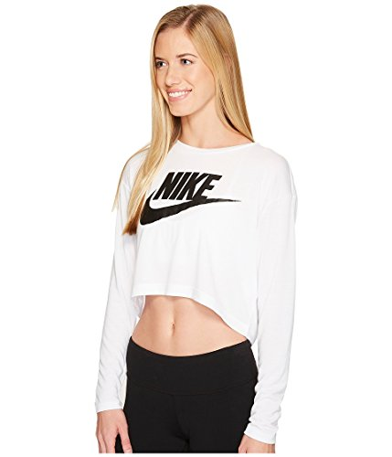 Nike Vrouwen Essentieel Lange Mouwen Hbr Gewas Top Shirt Wit / Zwart