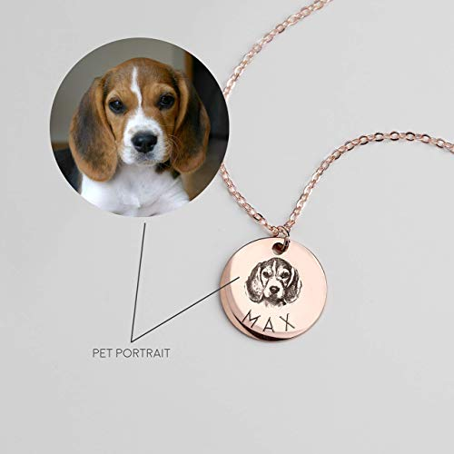 Pet Portrait Necklace Pet Memorial Pug Necklace Dog Jewelry Custom Pet Unique Christmas Gift Dog Mom - LCN-AP