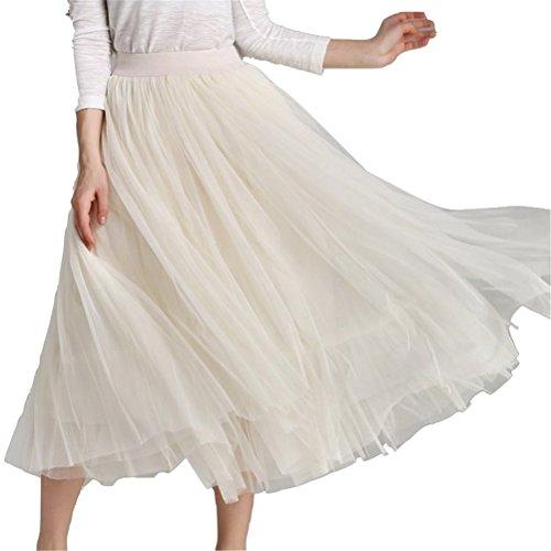 Haute A Longue Tulle Taille en FuweiEncore Taille Plisse Jupe Femme Elastique Abricot Jupe Ligne 08qxfR