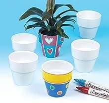 Baker Ross- Mini macetas de Porcelana (Pack de 6) - Kit de Manualidades Creativas para niños