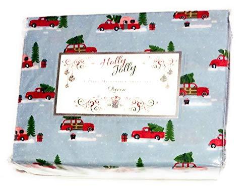 - Holly Jolly Rock Santa Christmas Caravan Queen Holiday Sheet Set