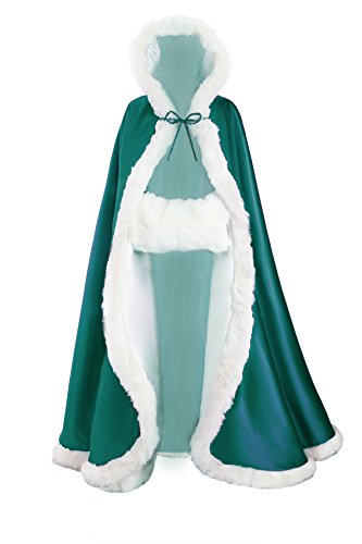 Adult Sparkle Heart Tiara (BEAUTELICATE Women's Bridal Cape Wedding Cloak With Fur Floor-length Teal)