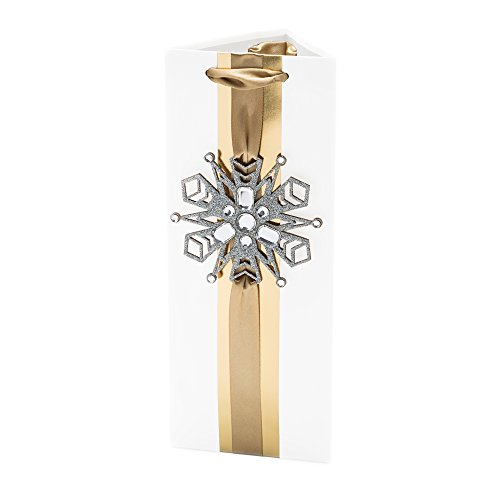 Hallmark Signature Holiday Bottle Gift Bag (Gold with Snowflake)