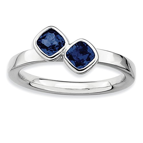 Sterling Silver Stackable Expressions Dbl Cushion Cut Cr. Sapphire Ring Size 8