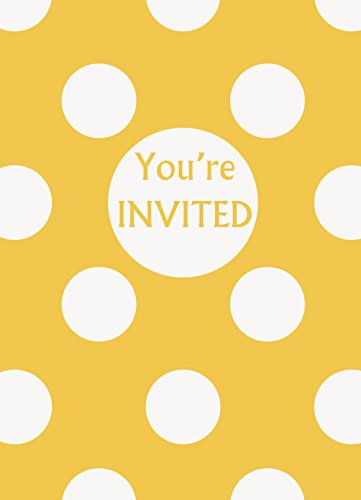 Invitations 8 Piece Party (Yellow Polka Dot Party Invitations, 8ct)