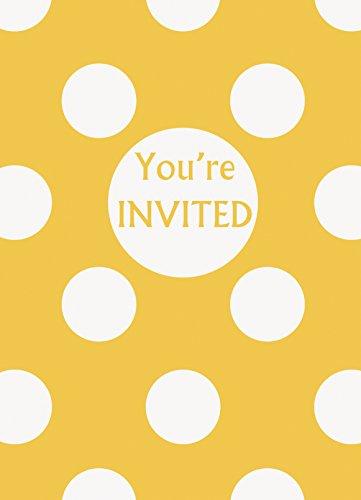 (Yellow Polka Dot Party Invitations,)