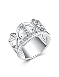 lureme® Simple Heart Shaped Hollow Crown Silver Plated Jewlery Princess Ring (rg001621)