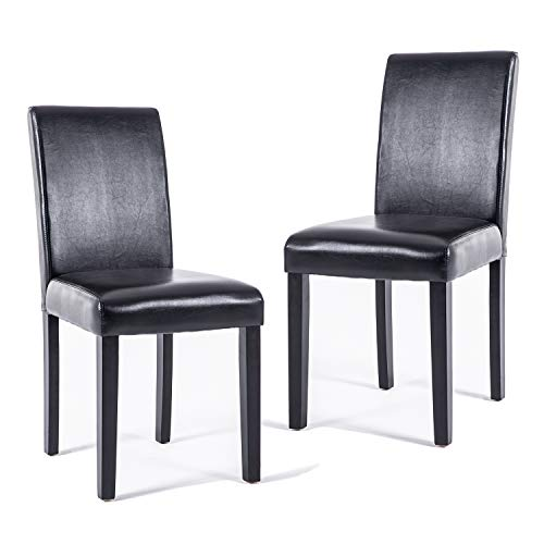 DAGONHIL Dining Chairs Leather Kitchen Parson Chair Urban Style Dining Side Chair with Solid Wood Legs,Set of 2(Black)