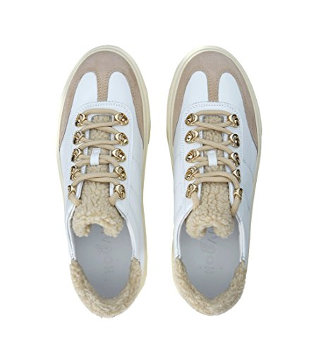 Hogan Sneaker H340 Aus Leder Weiß und Wolle Weiß
