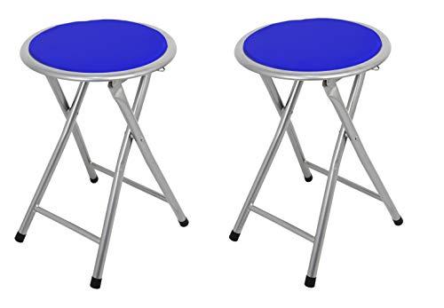 La Silla Espanola Palma Pack de Taburetes Plegables Acolchados, Aluminio, Azul, 30x30x45 cm, 2 Unidades
