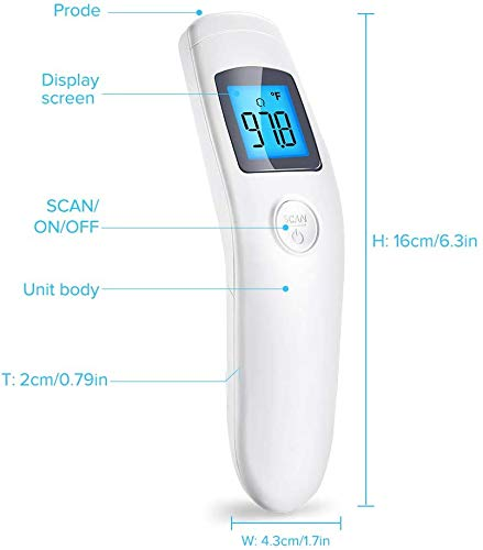 GEKKA No Touch Temperature Scanner for Adults Forehead Measure Human Temperature Medical Detect Fever Device Infrared Digital with LCD Reading 1S Second Fast and Accurate Reading