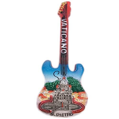 Fridge Magnet Guitar Vatican Rome Italy 3D Resin Handmade Craft Tourist Travel City Souvenir Collection Letter Refrigerator Sticker