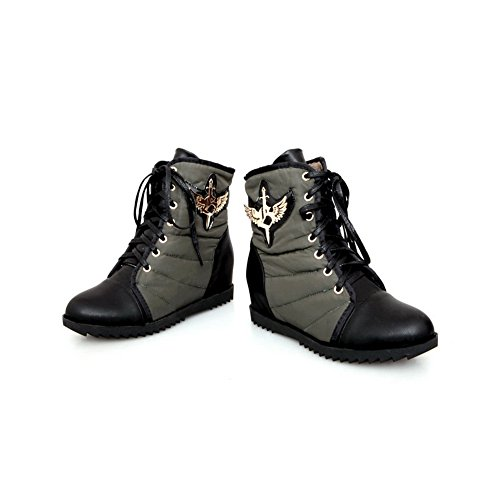 Rubber US AmoonyFashion Boots M PU Assorted Heels Round 5 Toe B Colors Bandage Kitten Closed Womens with 4 Armygreen U0URC