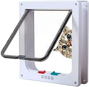 Rikounan Cat Door with 4 Way Locking, Magnetic Cat Flap Door, Cat Doors for Interior Doors, Weatherproof Pet Doors for Cats Small Dog, Interior Doggie Door