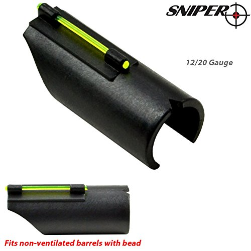 Sniper Snap-on Fiber Optic Front Sight Kit for Shotguns - 12/20 Gauge; Choice of Green or Red Light Pipe (Green)