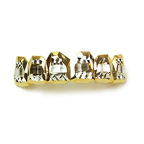 Metaltree98® Upper Grillz Diamond Square Cut 14k Gold Two Tone Hip Hop Cap Teeth L 051 C2 G (Gold Teeth Wax compare prices)