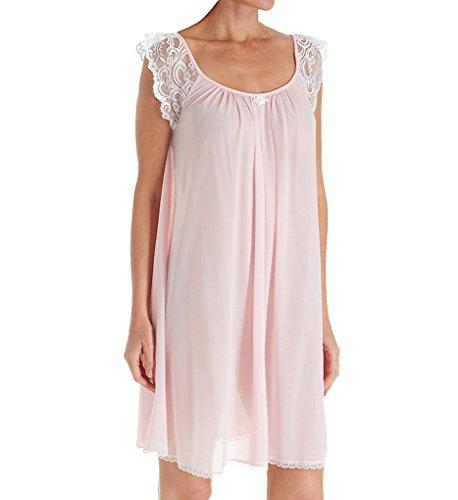 Amanda Rich Lace Cap Sleeve Knee Length Nightgown (106B) XL/Pink Amanda Knee Length Nightgown