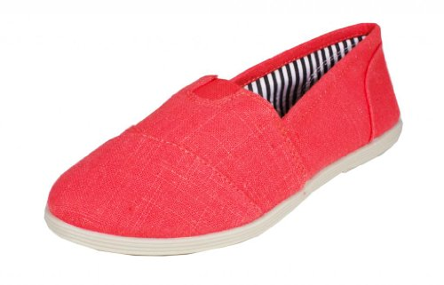 Object! By Soda Linen Slip-on Canvas Flat Sandals, coral linen, 6 M