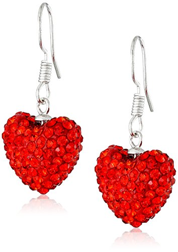 925 Sterling Silver Modern Each Cubic Zirconia Simulated Ruby Red Heart Bead-ball Drop Earrings 5.00 Carat (Drop Cubic Zirconia Beads)