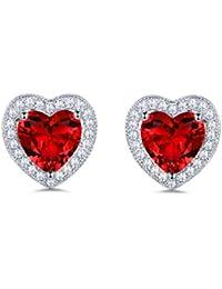 MASOP Heart Shape Ruby Color Red Crystal Halo Stud Earrings for Women Silver Tone