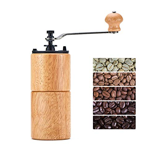 Fumao Hand Coffee Grinder Wooden Coffee Bean Mill with Ceramic Burr, Large Capacity Light Wood, Cast Iron Manual Crank, Portable Adjustable