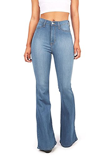 (Vibrant Women's Juniors Bell Bottom High Waist Fitted Denim Jeans,Denim,X-Large)