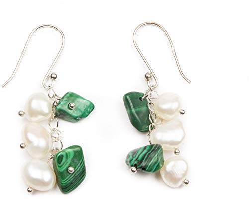 HinsonGayle Handpicked Freshwater Cultured Pearl & Malachite Dangle Earrings Sterling -