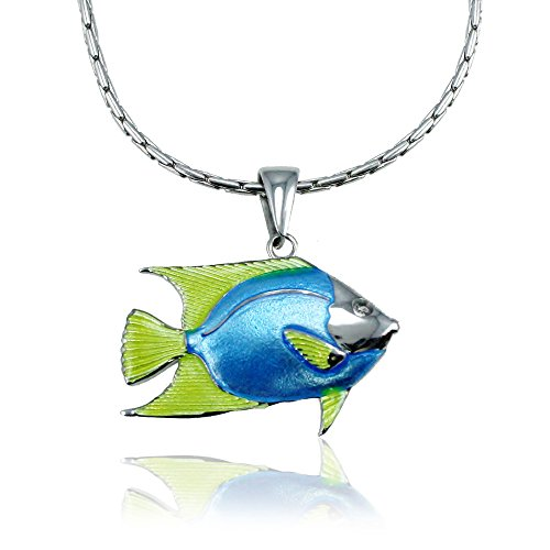 Guy Harvey Enameled Angelfish Pendant in Sterling Silver with an 18