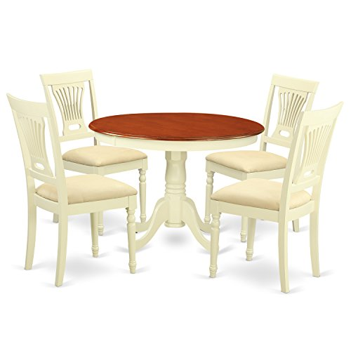 East West Furniture HLPL5-BMK-C 5Piece Hartland Set with One Dining Table & Four Cushion Seat Dinette Chairs in a Beautiful Buttermilk & Cherry Finish
