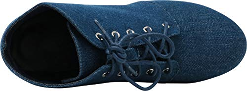 Chunky Blue Denim Stacked up Select Women's Cambridge Platform Lace Heel Bootie Ankle XR4BFwvqx