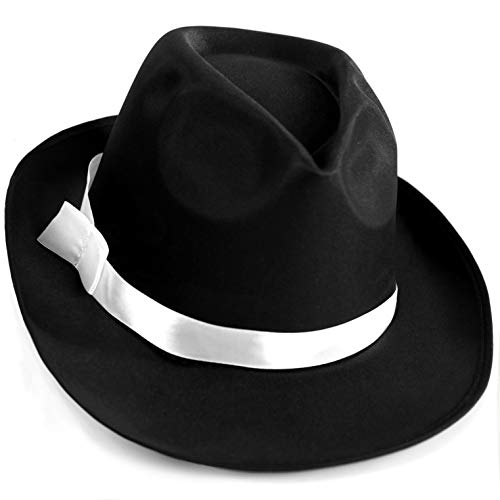 Squirrel Products Black Gangster Fedora Hat - One Size with Elastic Band - Costume Accessory -