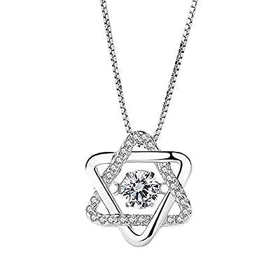 Nonnyl Silver Necklace Womens 925 Silver Cubic Zirconia Pendant Necklace