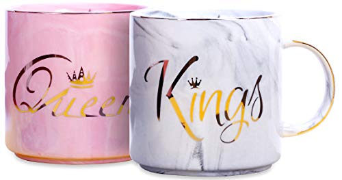 King and Queen Couples Coffee Mugs- Present Idea for Bridal Shower, Wedding, Engagement, Anniversary, Newlyweds, and Couples- Ceramic Marble Cups 13 oz (Black Boxes)