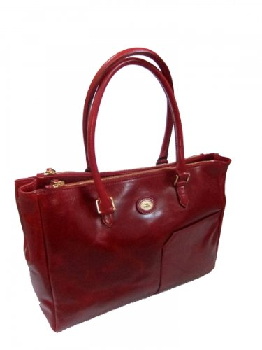The Shopper Bridge Tasche rot 047163 06 Leder 01 rRra4w