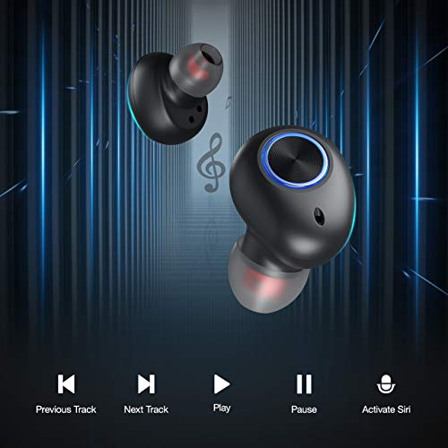 Poweradd Wireless Earbuds Bluetooth 5.0 Stereo Sound Headphones Built-in Mic Wireless Earphones in-Ear, One-Step Pairing Noise Cancelling IPX7 Waterproof Headset with Portable Charging Case