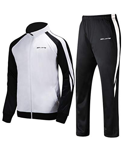 Men's Outdoor 2 Piece Jacket Pants Track Suit Sport Sweat Suit Set White/Black X-Large
