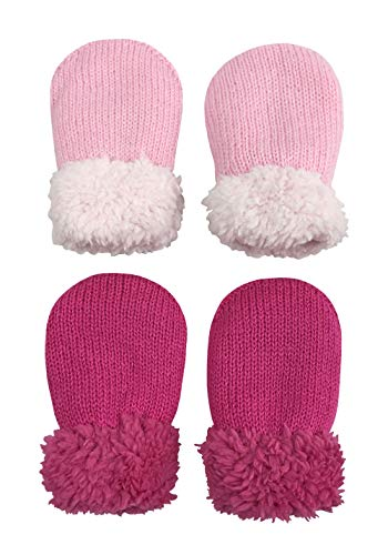 N'Ice Caps Baby and Toddler Easy-On Sherpa Lined Knit Stretch Mittens - 2 Pair Pack (Pink/Fuchsia Pack - Newborn, 1-3 Months)