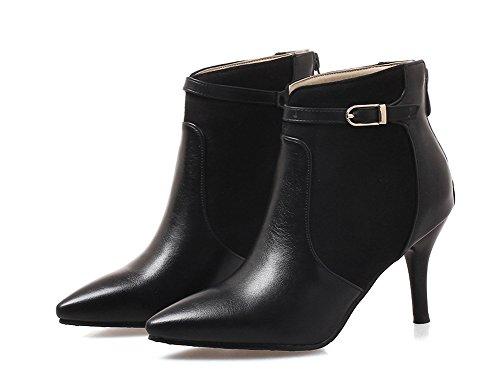 Knöchelstiefel Schwarz Damen Spitze Reißverschluss Zehen mit Schnalle Riemchen Stiletto Aisun xzYfwRqf