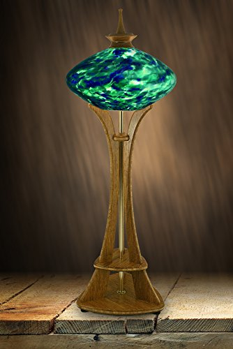 (Seattle Space Needle Accent Lamp with Blue & Green Marbled Art Glass, Carmel Bamboo Base, and Hand-Turned Walnut Finial)