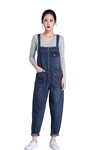 Soojun Women's Casual Baggy Denim Bib Overalls, Blue, Small