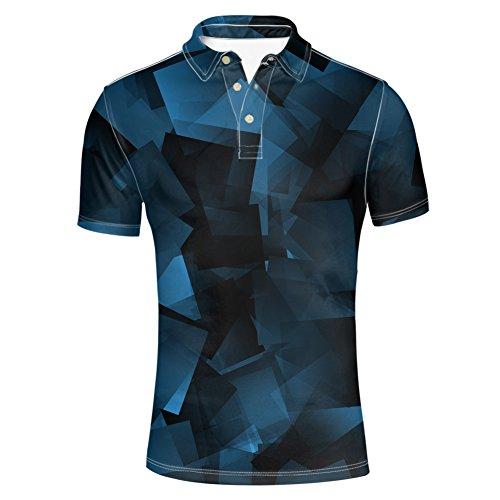 HUGS IDEA Abstract Art Men's Pique Polos Shirst Summer Short Sleeve Classic Button Down Polosshirt