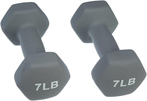 AmazonBasics 7 Pound Neoprene Dumbbells Weights - Set of 2, Light Grey