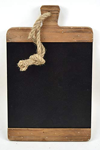 Concepts Brown Wood Wall Hanging Chalk Board with Oversized Natural Rope -