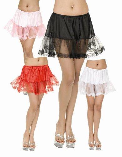 Charades Lace Petticoat Spitzen Tutu Unterrock Damen Rock Fasching Halloween Karneval Schwarz one Size