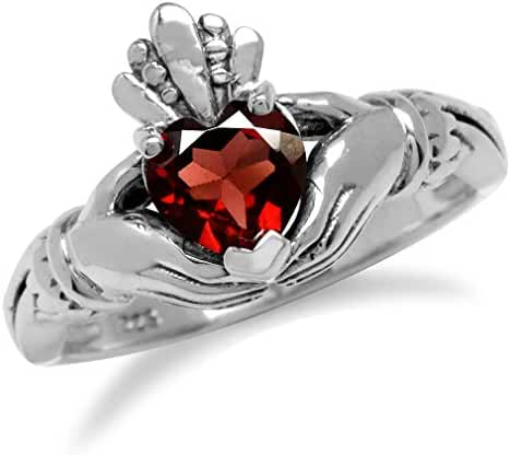 Natural Heart Shape Garnet Irish Celtic Claddagh 925 Sterling Silver Ring