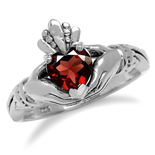Natural Heart Shape Garnet Irish Celtic Claddagh 925 Sterling Silver Ring Size 10