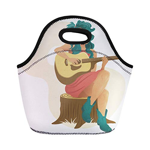 Tinmun Lunch Tote Bag Blue Acoustic Girl Sat Playing Guitar Band Beautiful Bluegrass Reusable Neoprene Bags Insulated Thermal Picnic Handbag for Women Men