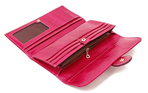 SUIMIUS Womens Genuine Leather Long Clutch Rose